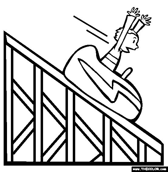 roller coaster printables amusement park online coloring pages page 1