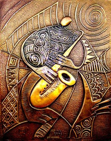 Sax Player - Copper Relief Limited Edition By: Okaybabs SKU: OK01 Size: 19.5 x 15.75 Numbered Limited Edition of 777 Price: $500.00