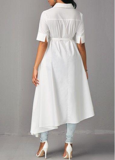 Asymmetric Hem Half Sleeve White Long Blouse   Rosewe.com - USD $39.17