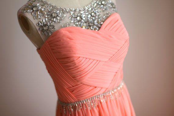 Coral Pink Chiffon Simple Wedding Dress/Bridesmaid Dress/Prom Dress V Back Sheer Beading Neckline on Etsy, $189.00