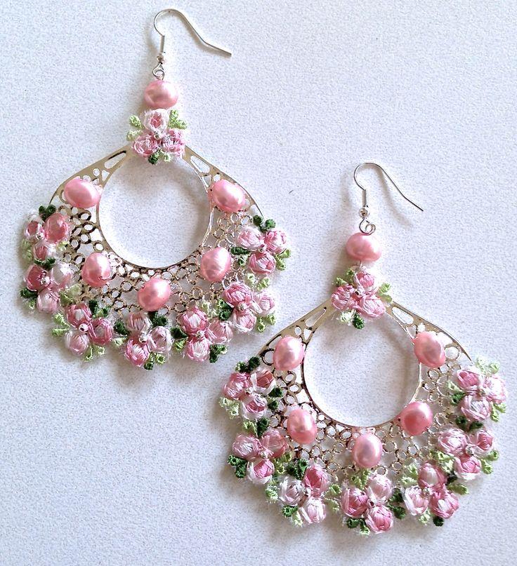 Pink freshwater pearl & lace chandelier earrings by Helena Karter Jewellery Design - 2014!