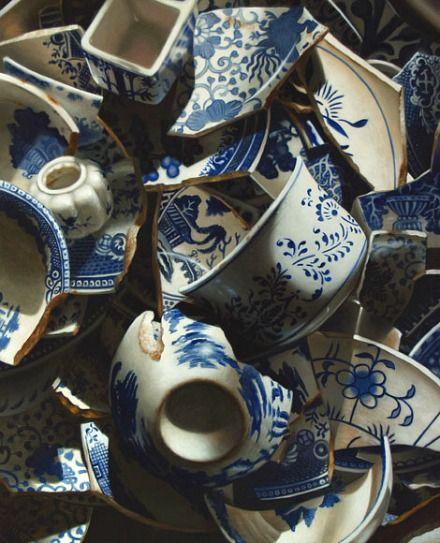 beautiful even broken: Oil Paintings, Art Repr, Preston Oil, China Paintings, Blue White, Preston Broken, Broken China, Larry Preston, Broken Pottery