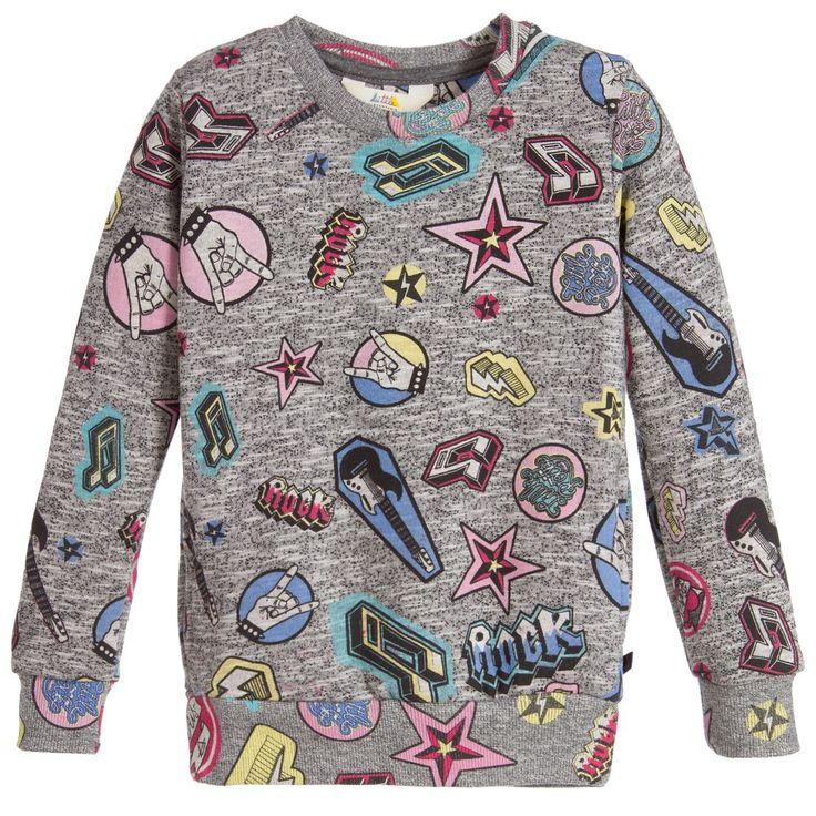 Little Eleven Paris Girls Grey Cotton 'Rock Star' Sweatshirt at Childrensalon.com