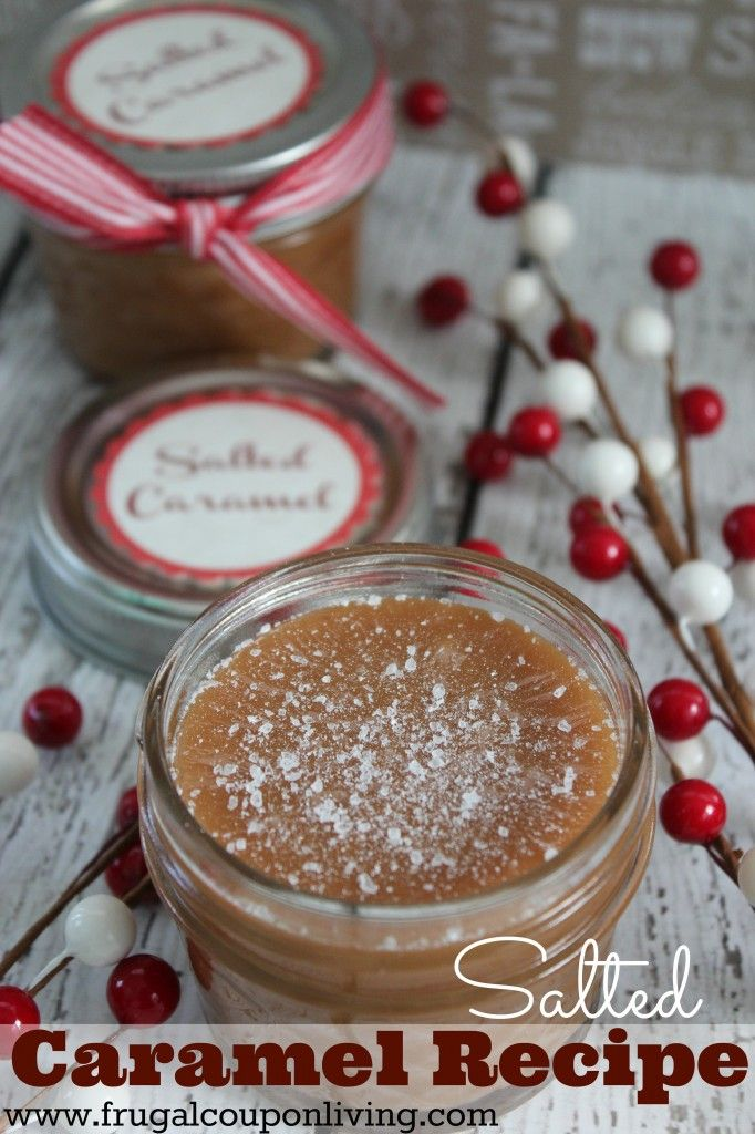 Easy Homemade Salted Caramel Recipe with 5 Ingredients with FREE Tag! Details for this easy gift for the Holiday and Christmas Season on Frugal Coupon Living #recipe #saltedcaramel