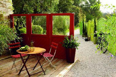Terrasse en bois naturel et bois composite pas cher rouge - Ganivelle pas cher ...