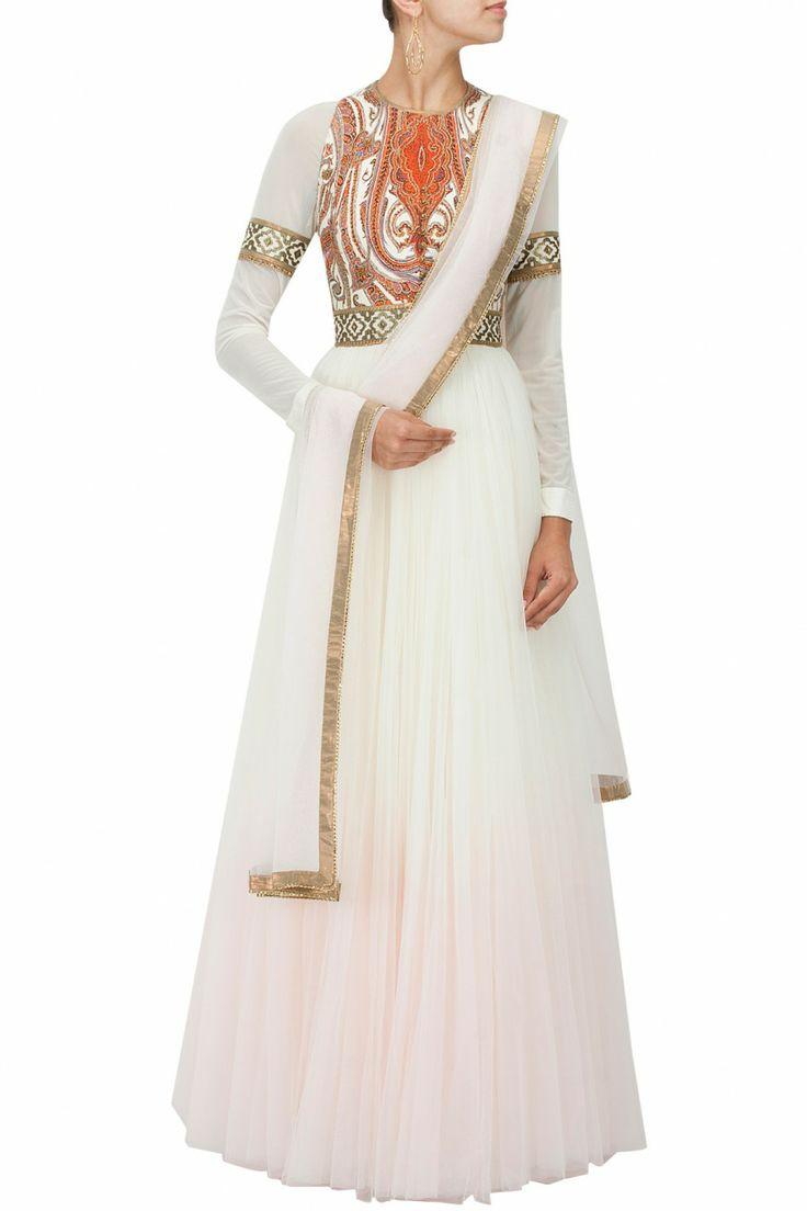 Ivory to salmon pink ombre anarkali kurta set BY JJ VALAYA. Shop the designer now at www.perniaspopups... #perniaspopupshop #jjvalaya #anarkalis #ethnic #designer #stunning #fashion #amazing #fabulous #indian #musthave #happyshopping