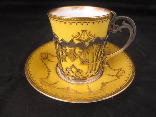 Vintage Solid Silver Cup Holder with Paragon China Cup Saucer Sheff 1906: