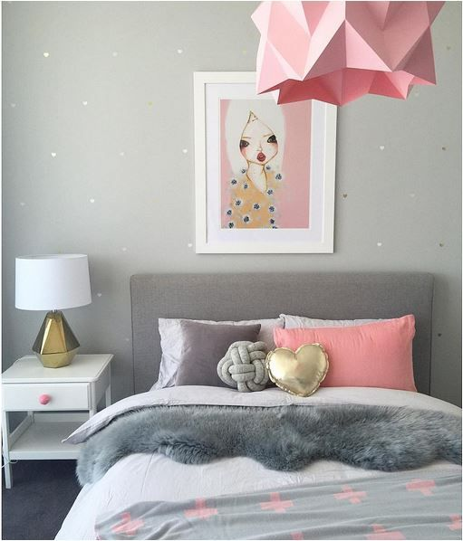 Habitaci n infantil para ni a muy glamourosa en gris y - Habitacion infantil rosa ...