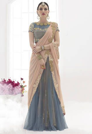Peach and Grey Net Lehenga Style Saree with Blouse