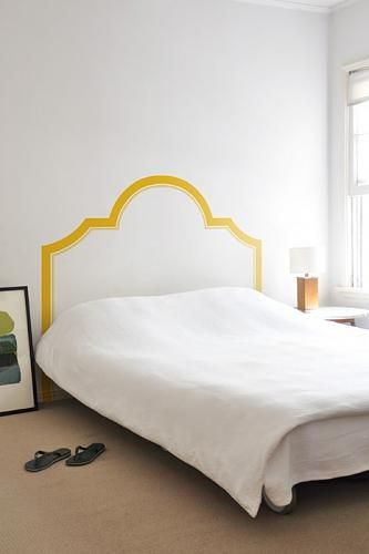 i do love the look of some of the simple, wall-painted headboards
