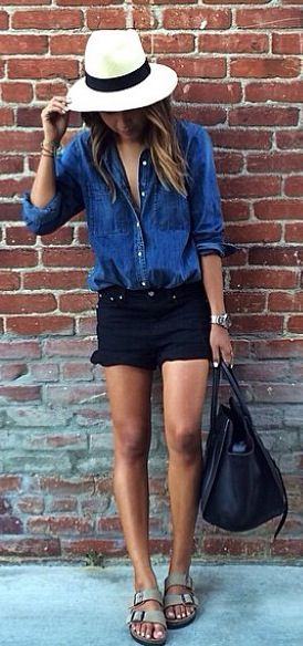 love the simplicy and classic color of this denim shirt, would love to see one.