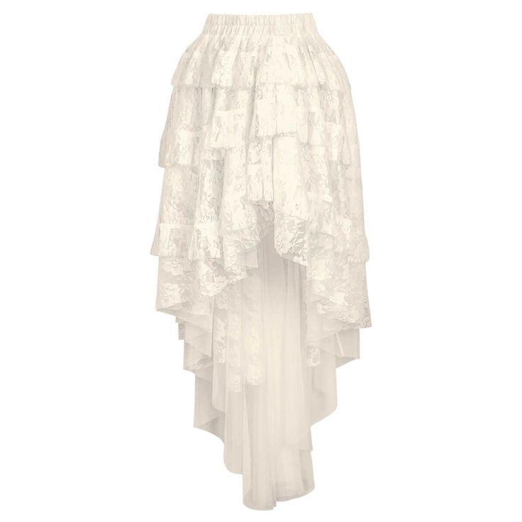 VG London. Een mooie burlesque gothic rok. De rok bestaat uit verschillende lagen stof van kant en loopt aan de achterkant langer uit. Deze jurk is perfect te combineren met een overbust korset om de look helemaal compleet te maken.