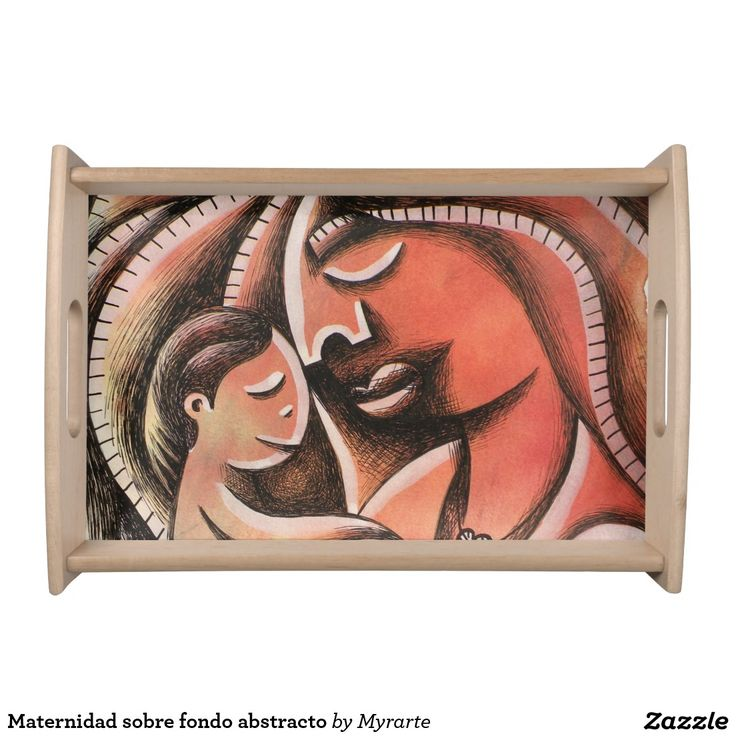 Maternidad sobre fondo abstracto. Producto disponible en tienda Zazzle. Decoración para el hogar. Product available in Zazzle store. Home decoration. Regalos, Gifts. Link to product: https://www.zazzle.com/z/3goo1 #Bandejas #Serving #Trays #mother #mom #madre #maternity
