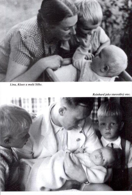 "From book ""Můj život s Reinhardem"" (""Mein Leben mit Reinhard"") by Lina Heydrich. Above: Lina, Klaus and little Silke. Bottom: Reinhard as solicitous father."