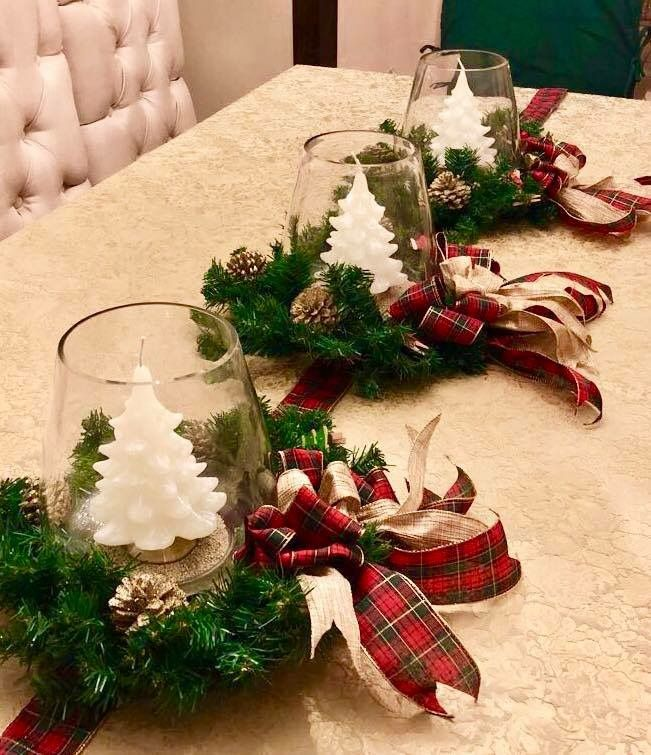 Christmas wreath and tree shaped candle Centerpieces