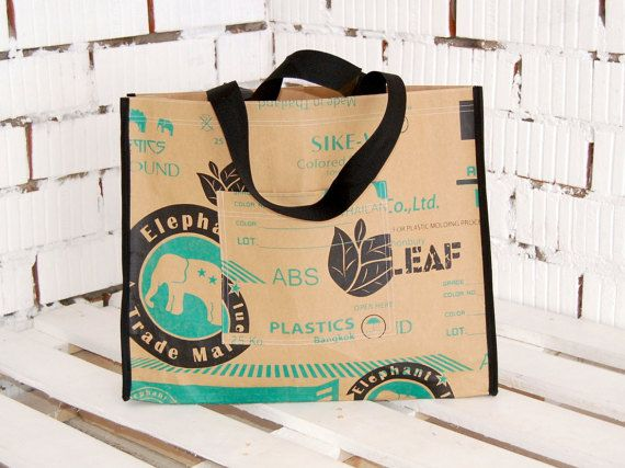 Eco Friendly Paper Tote Bag  Handmade Bag  by WhatTheFactory