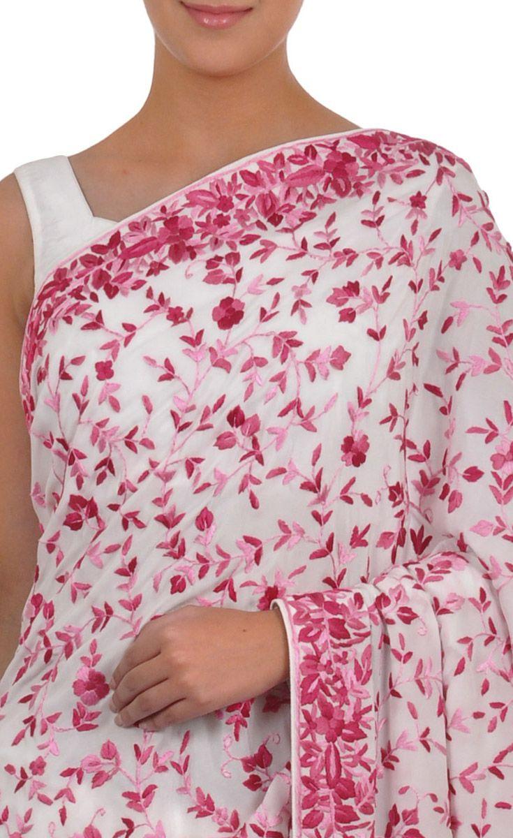 Masterpiece Ivory-Pink Hand Embroidered Parsi Gara Pure Crepe Saree