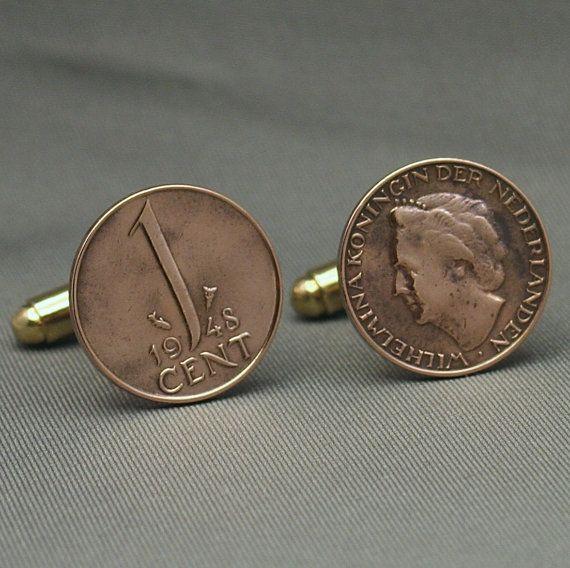 Dutch 1 Cent Vintage 1948 Coin Wilhelmina - Cufflinks