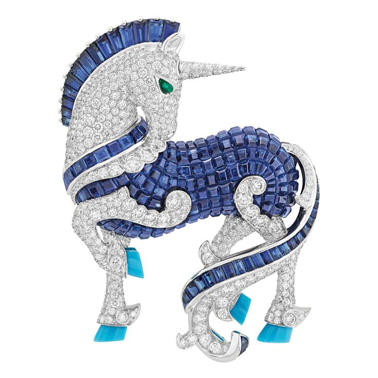 """Van Cleef & Arpels L'Arche de Noé Licorne Unicorn Brooch  The Beast body is inlaid diamonds and sapphires, while eyes are set with drop-shaped emeralds, and beast hooves are set with turquoise. This brooch is launched by Van Cleef & Arpels on the new senior jewelry series """"L'Arche de Noé"""" in 2016. It shows the unicorn's elegant gesture when it is looking back naturally."""
