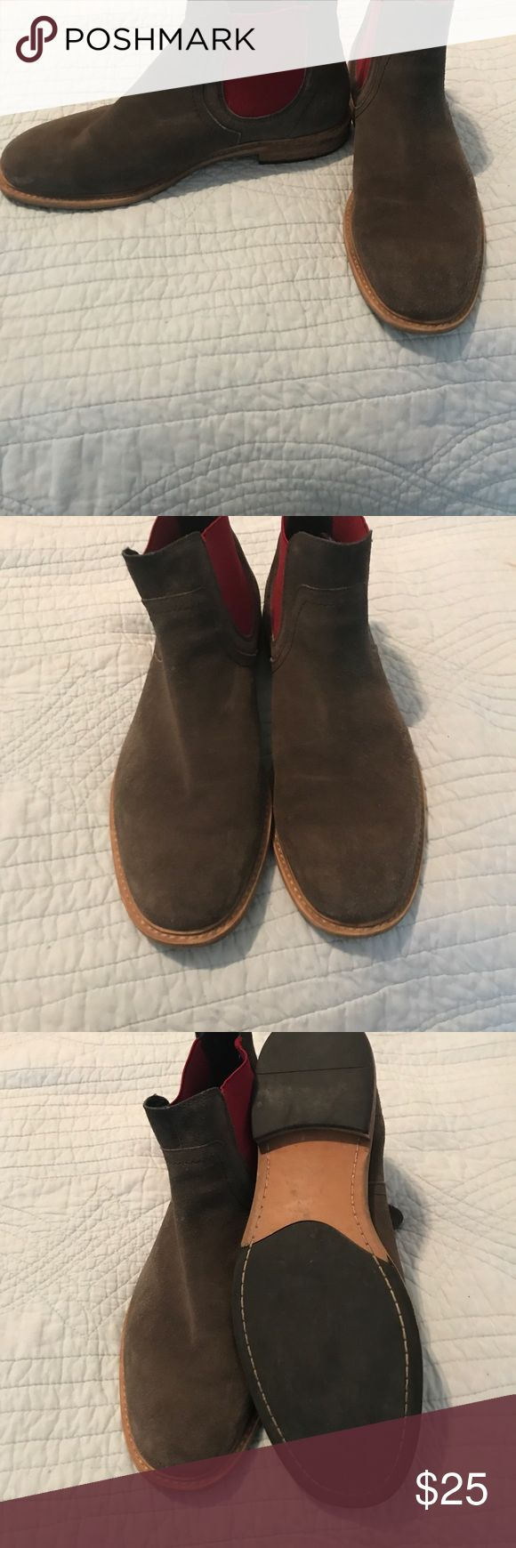 Men's pull on boots Brown suede with red detail total hip- he says comfortable! Barely worn . Great with jeans or casual slacks Shoes Boots