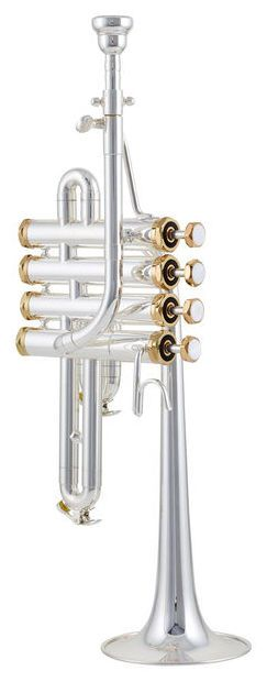 Thomann TR-5400S Piccolo Trumpet - Thomann - homann TR-5400S Piccolo Trumpet, 4 perinet valves, long version, cornet shank, bore size Ø 11,38mm, bell size Ø 100mm, body and bell made of brass, 3rd and 4th slide waterkey, gold plated valve caps and finger buttons, silver plated, incl. Bb- and A- pipe, silver plated, incl. mouthpiece and Protec case