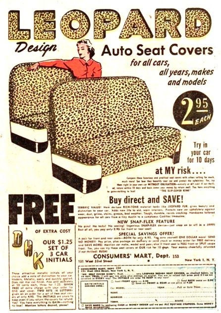 Leopard design auto seat covers... I WISH!! Do you know how much time I have spent looking for these for my 57 Savoy! Can't find any I like:(