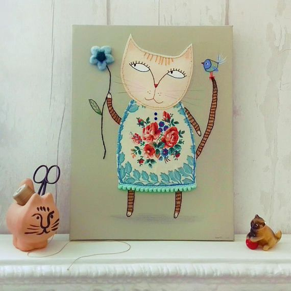 Thelma and the Flower  Cute Cat Canvas  Children's Art