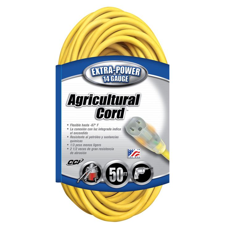 Coleman Cable 14580002 50' 14/3 Gauge Agricultural Extension Cord