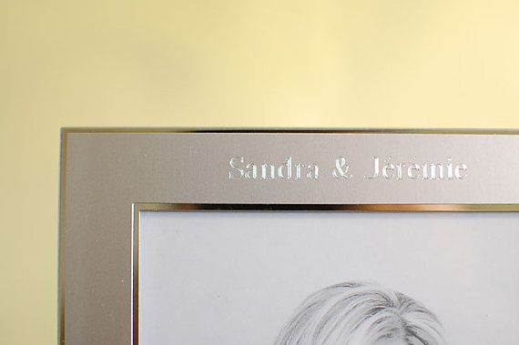 Personalized photo frame, custom photo frame, engraved picture frame, personalized picture frame.  This is a two tone silver picture frame that holds a