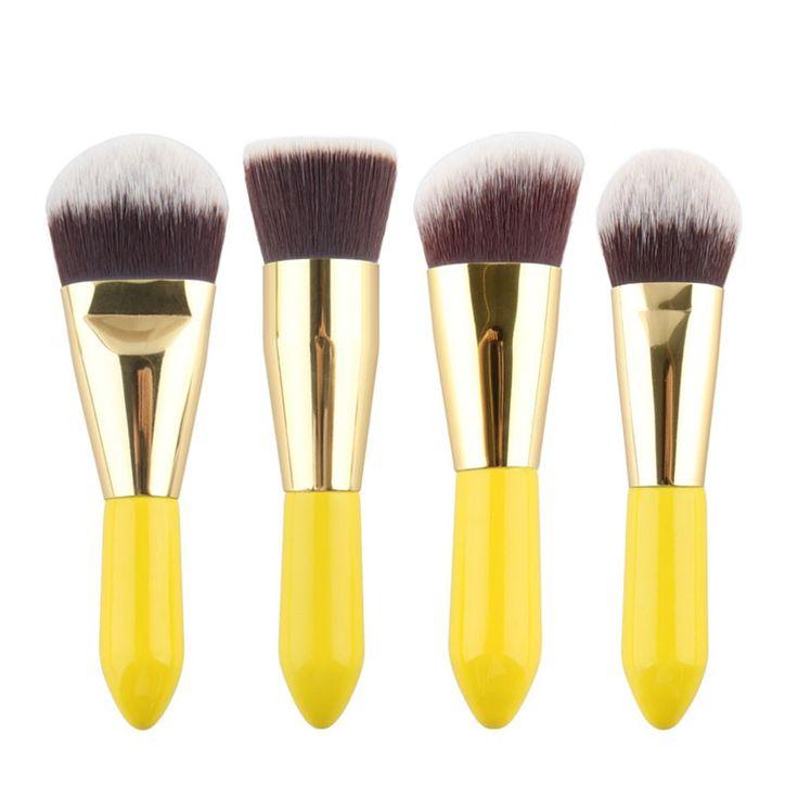 4 PCS Synthetic Hair Stage Make Up Tools Makeup Brushes Set Conveninent Travel Makeup Kit #Affiliate