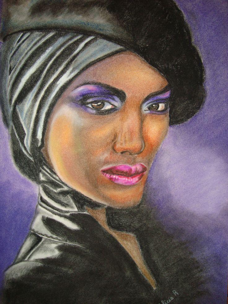 Retrato a pastel realizado por Alicia Ruiz