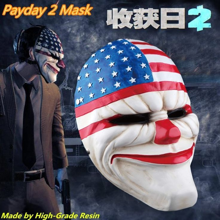 (1PC/Lot) Wholesale 100% Top Grade Resin Scary Clown Mask Payday 2 Halloween USA Stag Mask For Antifaz Party Mascara Carnaval  http://playertronics.com/products/1pclot-wholesale-100-top-grade-resin-scary-clown-mask-payday-2-halloween-usa-stag-mask-for-antifaz-party-mascara-carnaval/