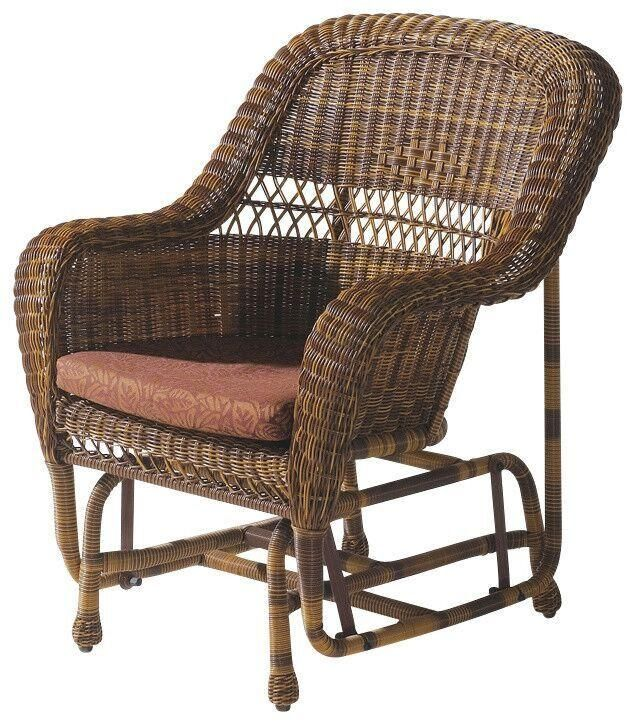Wick Gliding Chair Natural Brown Outdoor Patio Furniture Home Decor Resin Rattan