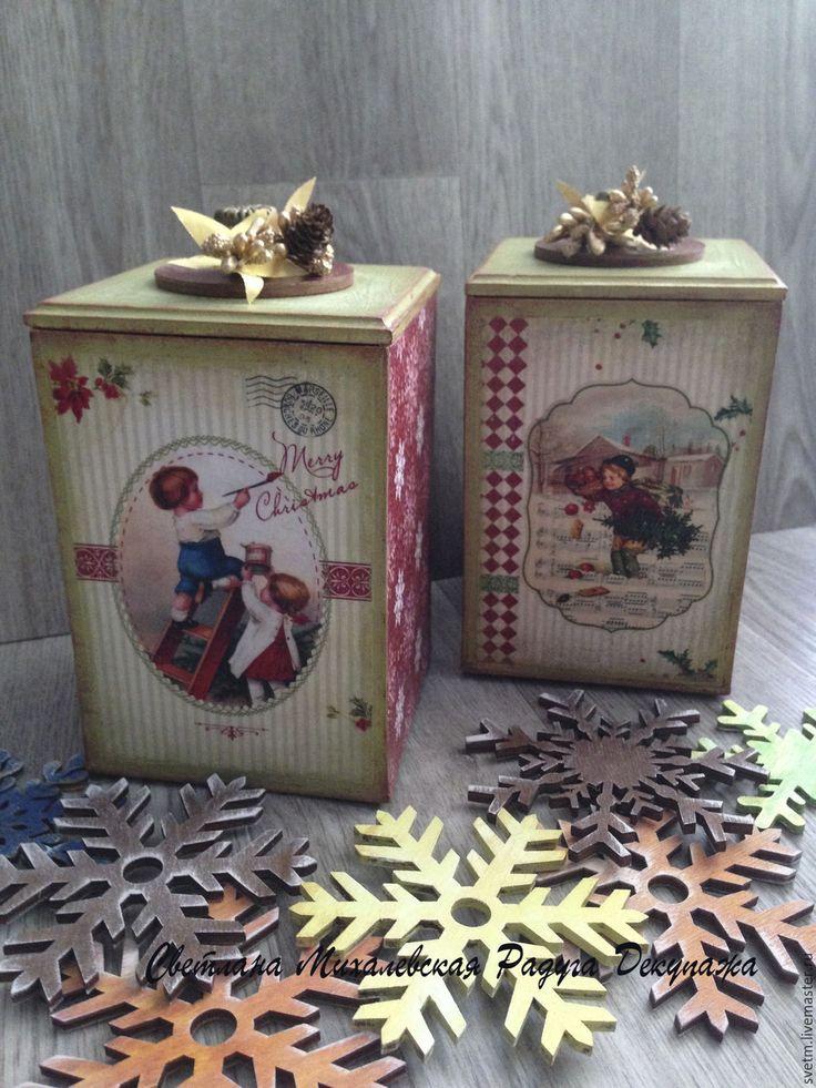 Купить короб для хранения для подарка новый год рождество декупаж - бородовая кухня, короба на кухню