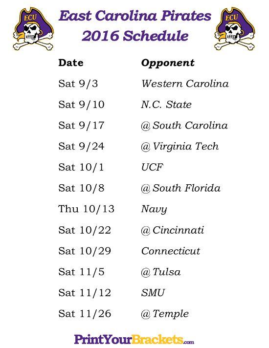 Printable East Carolina Pirates Football Schedule 2016