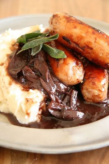 IRELAND: Bangers and Mash with Onion Gravy
