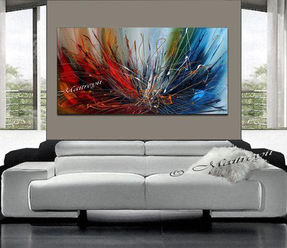 Pintura abstracta pintura acrílico rojo azul por largeartwork