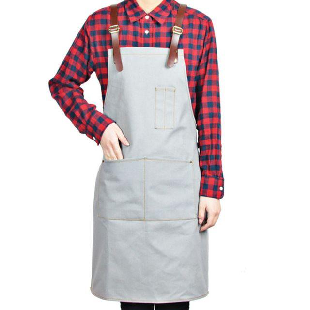 Full Length Canvas/Denim Apron w/ Leather Strap Barber Barista Florist Cafe Bistro Bar Uniform Carpenter Painter Workwear K61