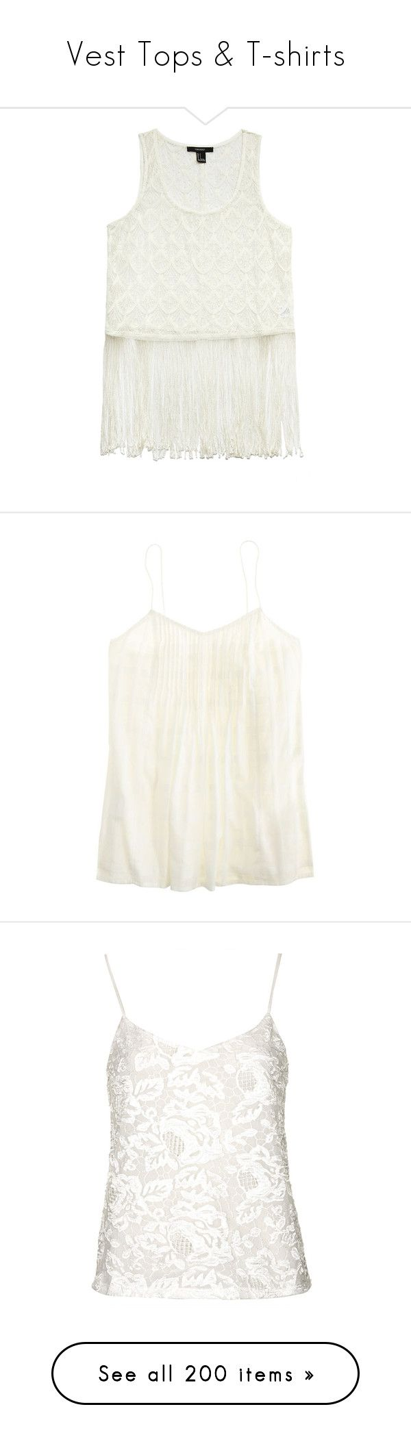"""""""Vest Tops & T-shirts"""" by chell-p ❤ liked on Polyvore featuring tops, shirts, white sleeveless shirt, scallop top, pattern shirt, fringe shirts, white fringe shirt, j.crew, tanks and white cami top"""