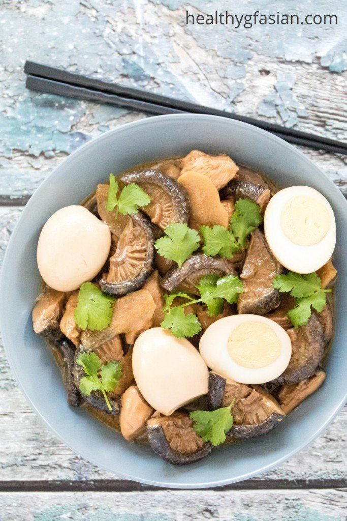 Braised Chicken and Hard Boiled Eggs with Mushrooms
