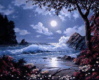 """""""Лунная ночь на море"""". Схема вышивки крестом"""