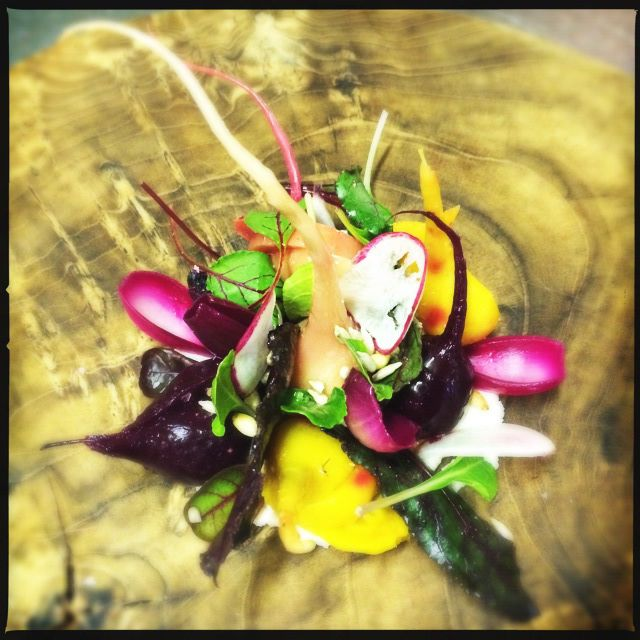 Beetroot salad with 'hazelnut cream cheese' and a pine nut dressing