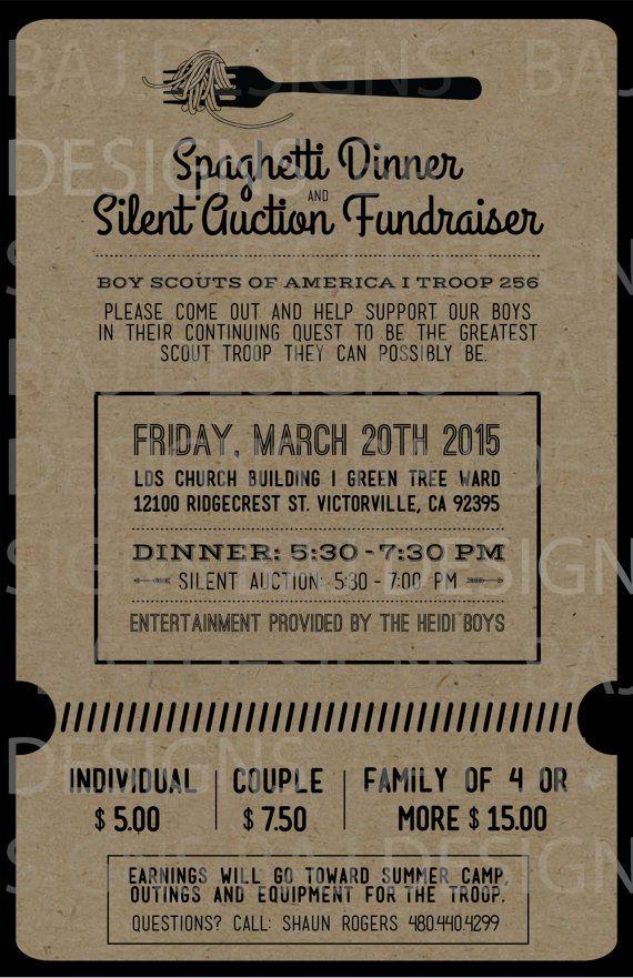 Fundraiser Ticket Design Spaghetti Dinner Silent