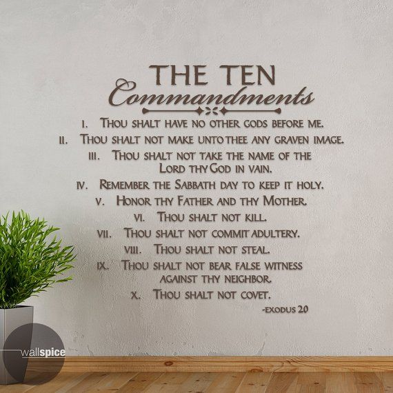 The Ten Commandments Exodus 20 Vinyl Wall Decal Sticker Etsy Wall Decal Sticker Ten Commandments Vinyl Wall Decals