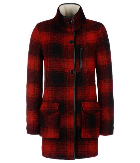 manteau en laine bouilli à carreaux rouge et noir, napapijri