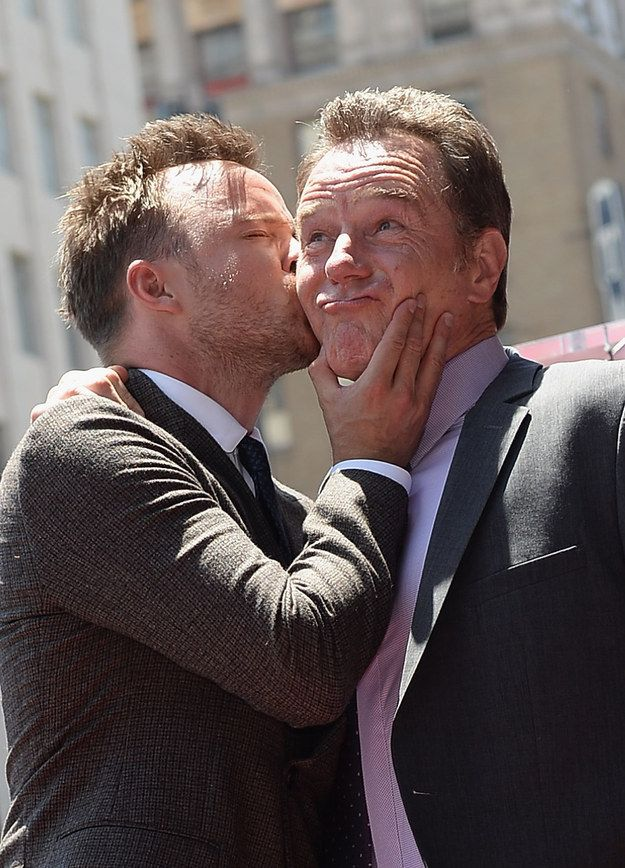 "They're not shy of a PDA or two. | 21 Photos Of Aaron Paul And Bryan Cranston That'll Make You Miss ""Breaking Bad"""