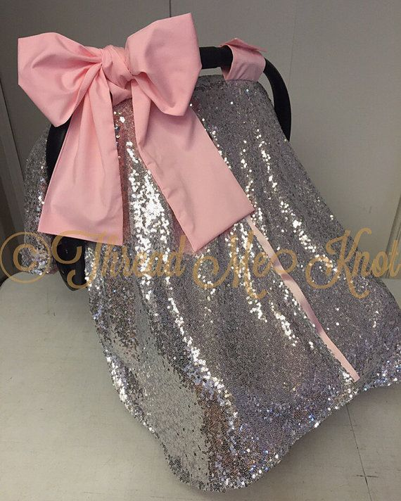 LUX Silver Sequin & Light Pink Car Seat Canopy by ThreadMeKnot My own Mom favors thishttp://www.travelsystemsprams.com/