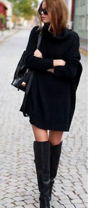bol siyah örgü elbise modelleri 2016