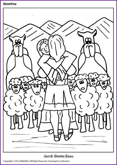 coloring jacob greets esau   kids korner   biblewise