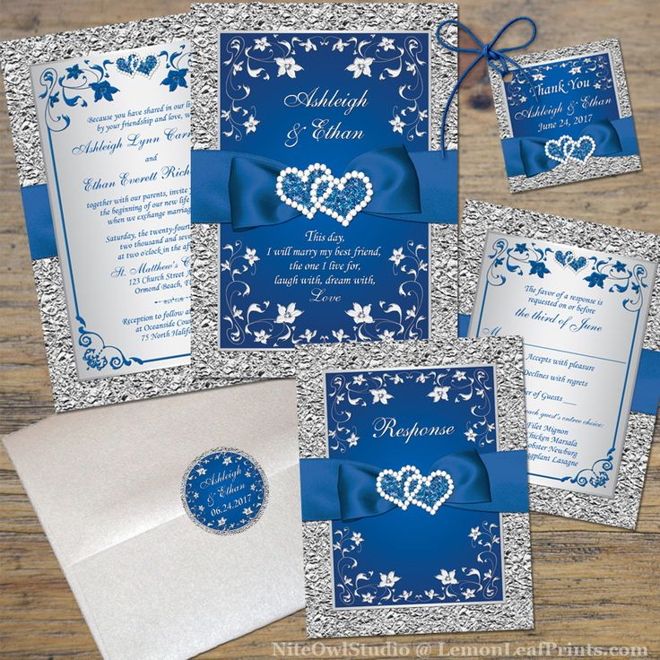 Royal Blue Wedding Invitation | FAUX Foil, Silver Floral | Printed  Ribbon/Bow |